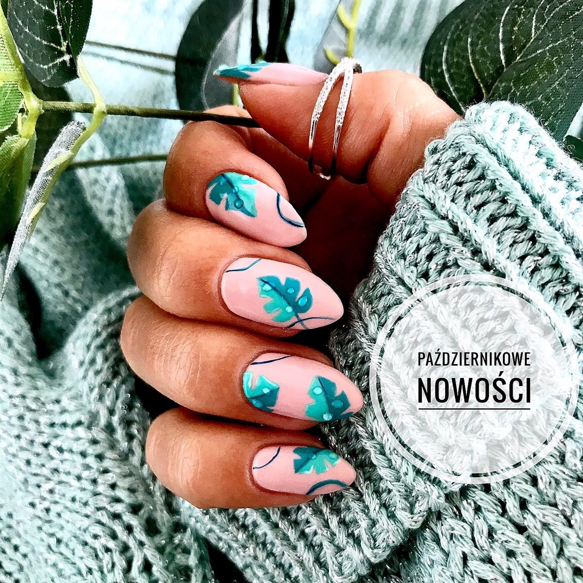 monstera nails, paznokcie liście