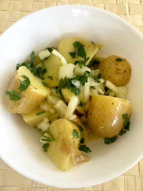 Easy potato salad recipe with mustard dressing, perfect to feed a crowd - Ioanna's Notebook