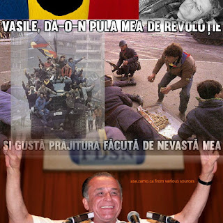 composite of a civilian who had brought cake to the soldiers, Ceausescu dead and Iliescu victorious