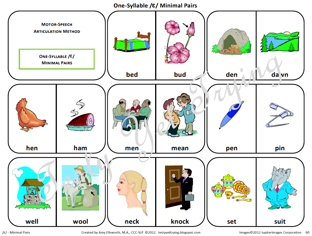 Testy Yet Trying Speech Therapy Kit Simple Vowels Card