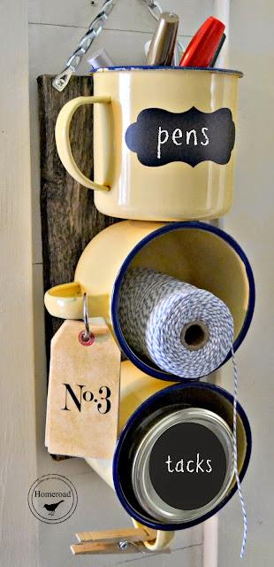 Enamel mugs used as organizer