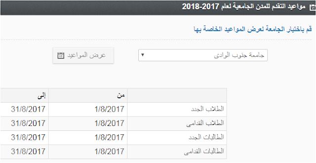 تنسيق ومواعيد القبول بالمدن الجامعية بجامعة جنوب الوادى 2017/2018 نظام الزهراء الجامعى