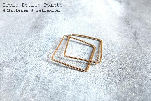 Trois Petits Points bague carrée double bijoux dorés