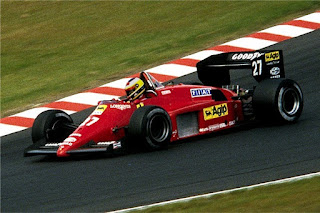 Alboreto at the wheel of the Ferrari in which he  finished runner-up to Alain Prost in 1985