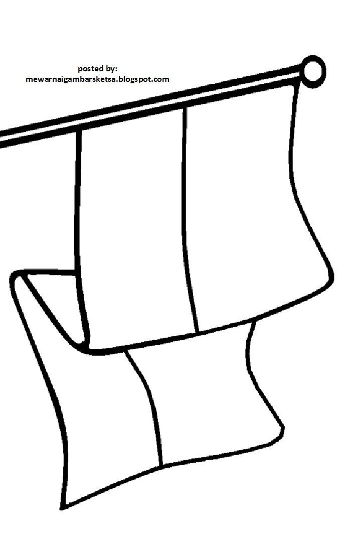 Mewarnai Gambar Mewarnai Gambar Sketsa Bendera Merah Putih 2