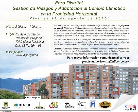 Foro Distrital Gestión de Riesgos y Adaptación al Cambio Climático
