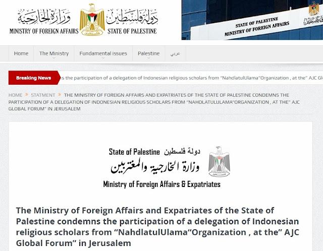 Pernyataan Resmi Kementerian Luar Negeri Palestina, Mengutuk Kehadiran Delegasi NU di Israel