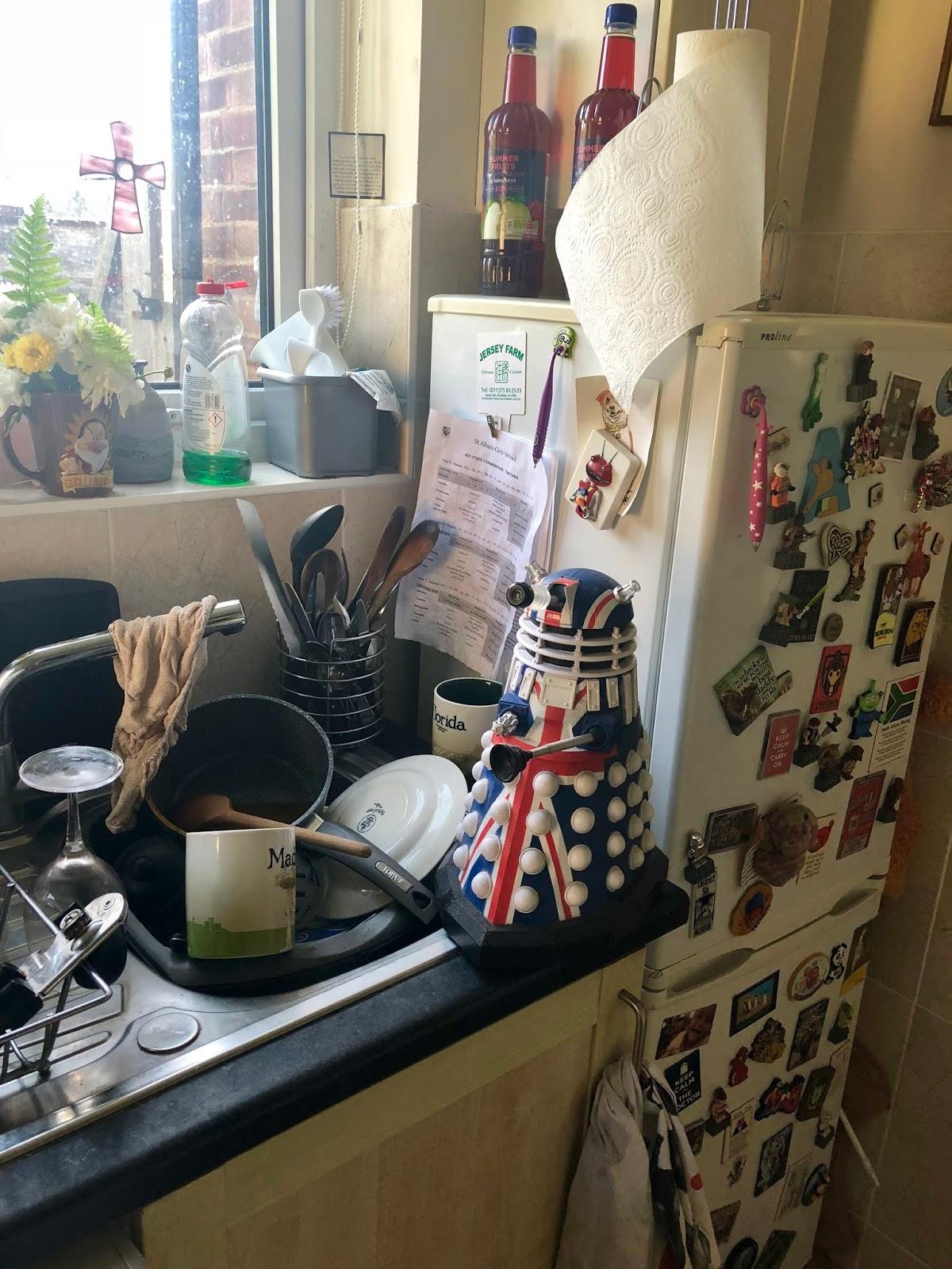Derek does the washing up