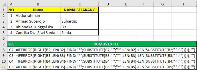Cara memisahkan nama belakang dengan rumus excel 5
