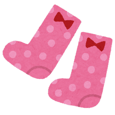 女の子の靴下のイラスト(子供服)