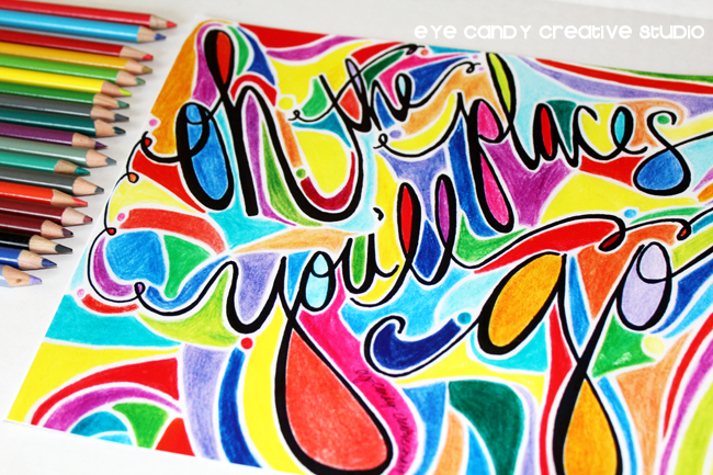 colorful art print, dr seuss, art print, hand lettered, bright colors