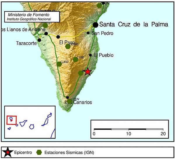 Lugar del epicentro del terremoto registrado en El Pueblo, La Palma, domingo 11 febrero