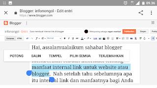 Contoh teks yang sudah diblok untuk di berikan link