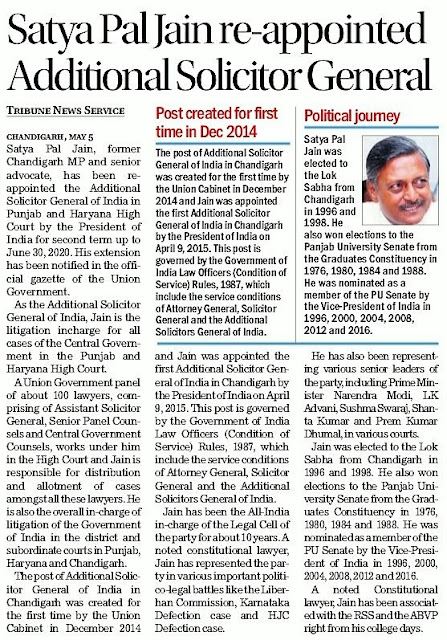 Satya Pal Jain re-appointed Additional Solicitor General   Post created for first time in Dec 2014