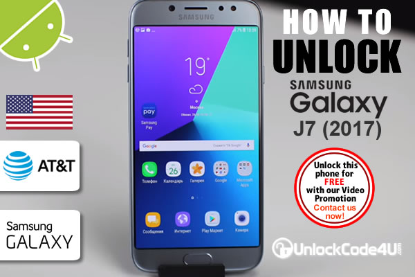 Factory Unlock Code Samsung Galaxy J7 2017 from At&t