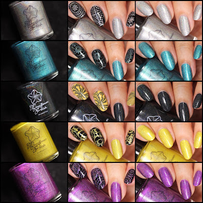 Gemstones Part1 collection of holographic stamping polishes by Moonflower Polish
