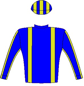 BARITONE - Horse - South Africa - Royal blue, gold brcs, royal blue slvs, gold seams, striped cap