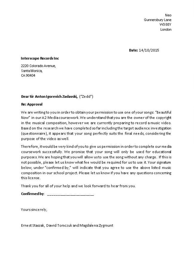 A2 MEDIA STUDIES  Group Work - Permission Letter - permission letter