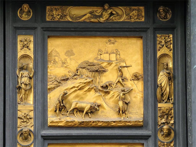 Cain and Abel, copy of the original bronze panel of the Gates of Paradise by Lorenzo Ghiberti, Baptistry of Saint John, Florence