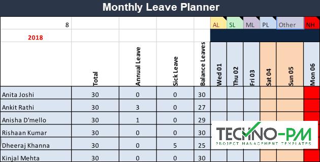 Leave Planner, Team Leave Plan Calendar Template