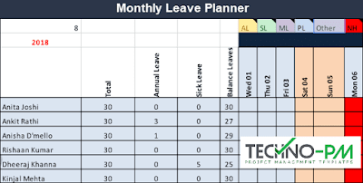 Leave Planner, Team Leave Plan Calendar Template