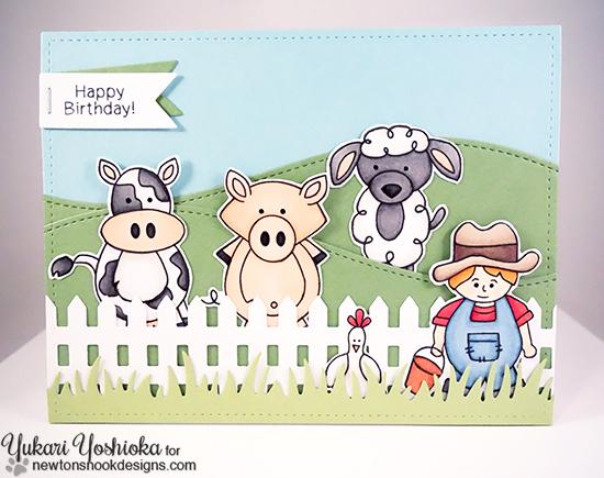 Farm Animal Birthday Card by Crafty Yukari Yoshika | Farmyard Friends Stamp Set by Newton's Nook Designs