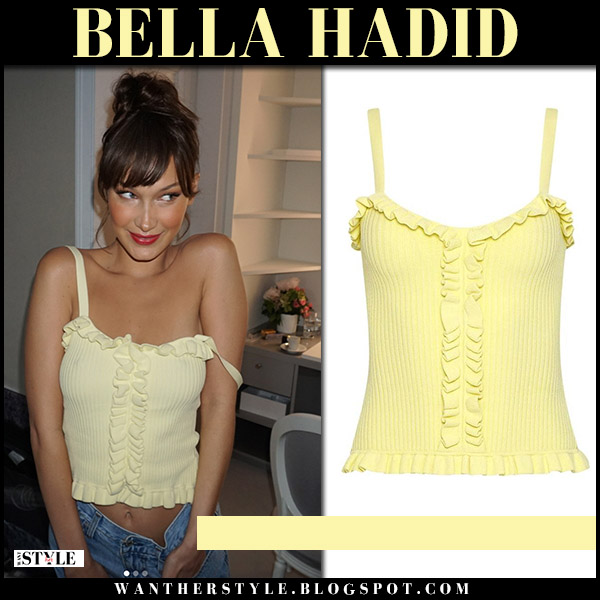 Bella Hadid in yellow ruffled summer bustier top cinq a sept model style may 12