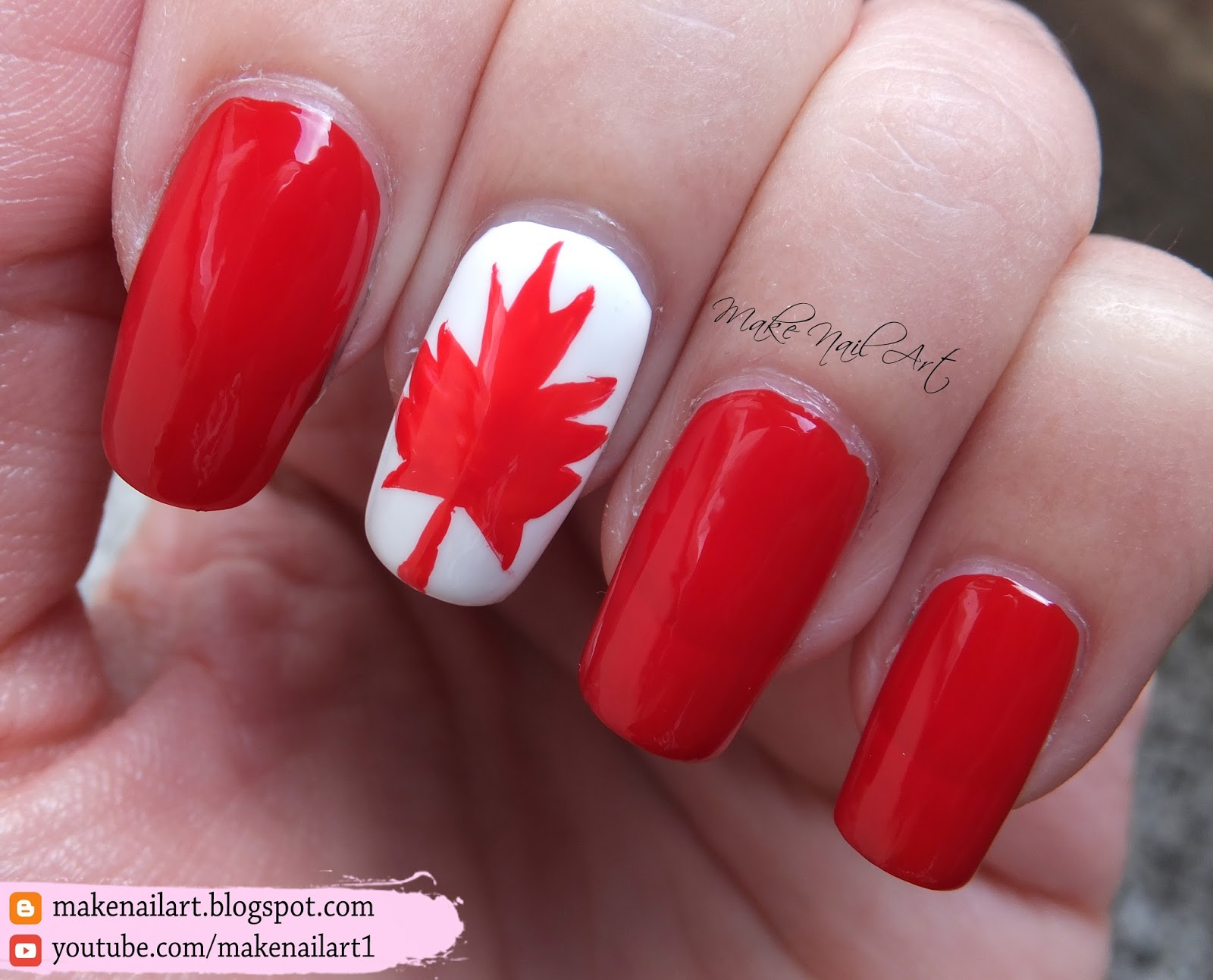 Make Nail Art: Canadian Flag Nail Art Design (31DC2016)