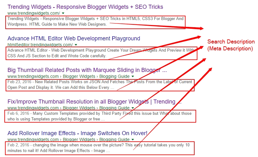 how to enable search description in blogger blog posts for seo