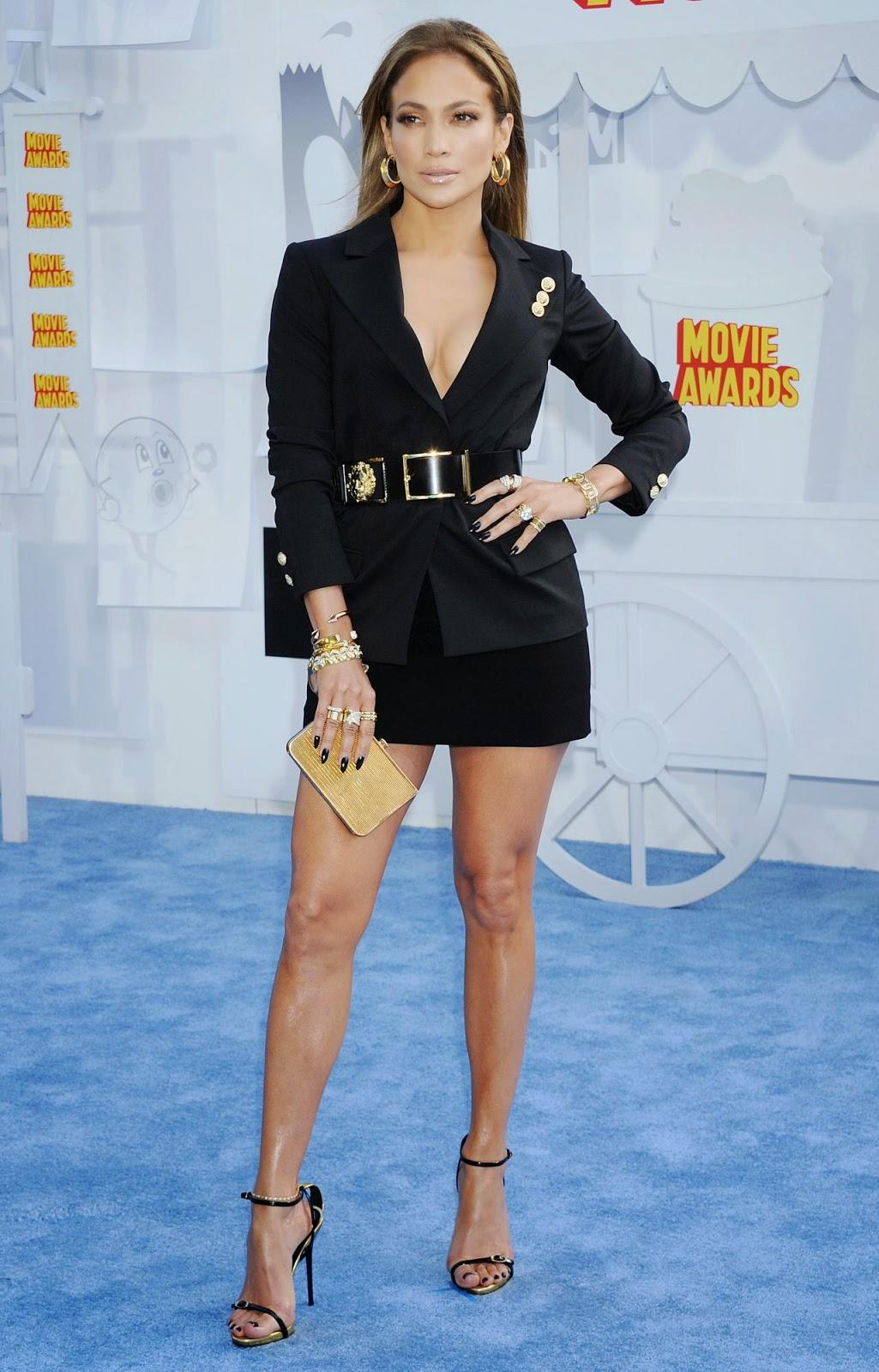 Jennifer Lopez Bares Cleavage In A Versus Versace Mini