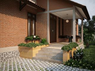 model teras rumah mewah satu lantai