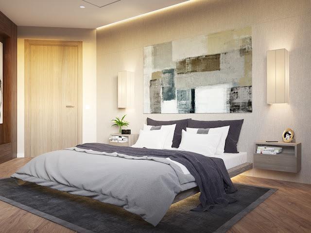 дизайн спальни со светящейся кроватью