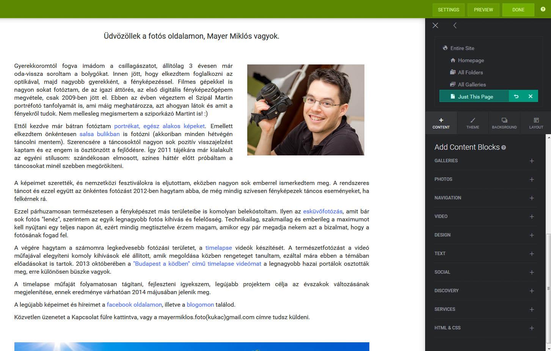 Smugmug Page szerkesztő panel képernyőképe