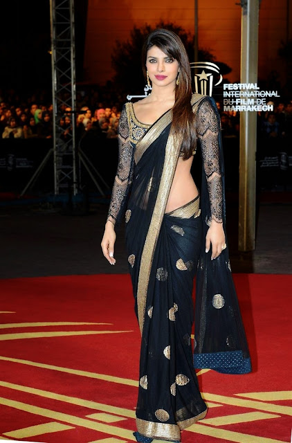 Black Net Saree worn by Priyanka Chopra At Marrakech Film Festival