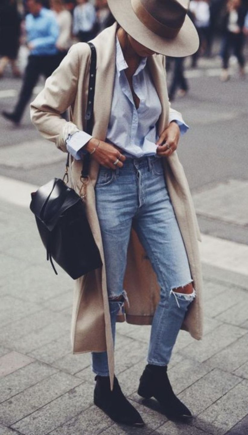 street style obsession | hat + black bag + ripped jeans + coat + shirt + black boots
