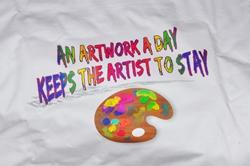 Vorderseite vom Künstlerarbeitshemd...