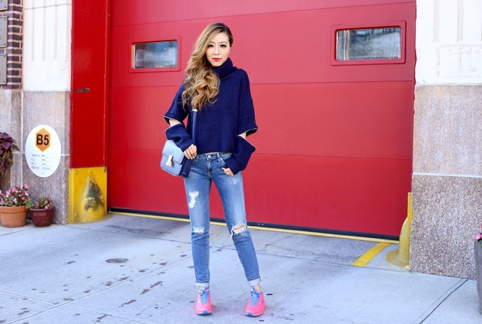 she in navy zipper sweater, AG jeans, celine bag, nike ids, nike, street style, fashion blog, nyc fashion blog