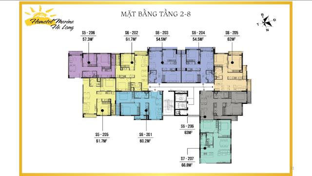 Mặt bằng thiết kế tầng 2 đến 8