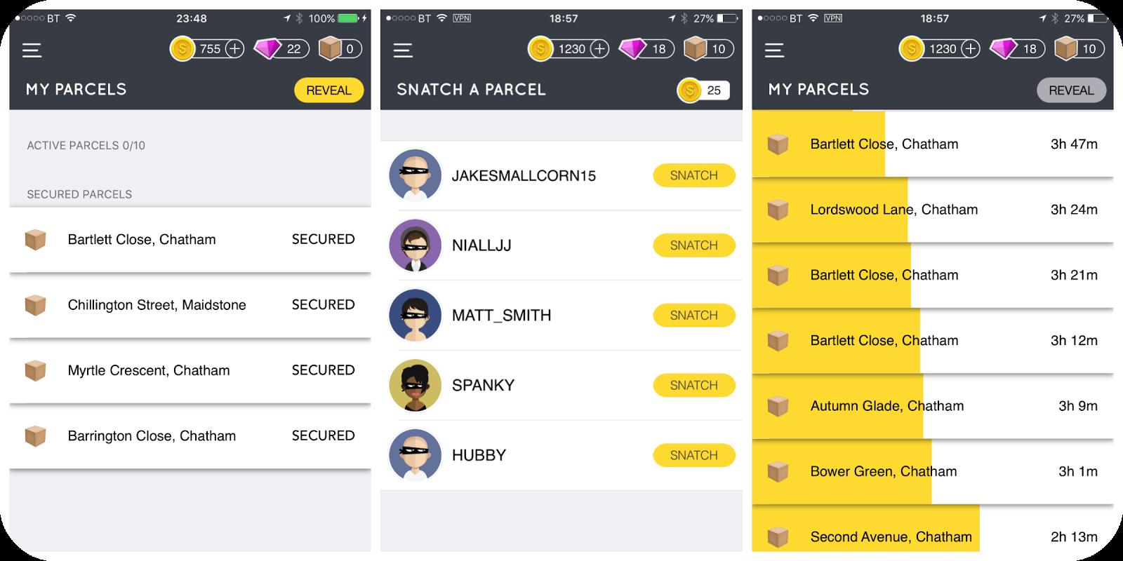 snatch app how to get parcels