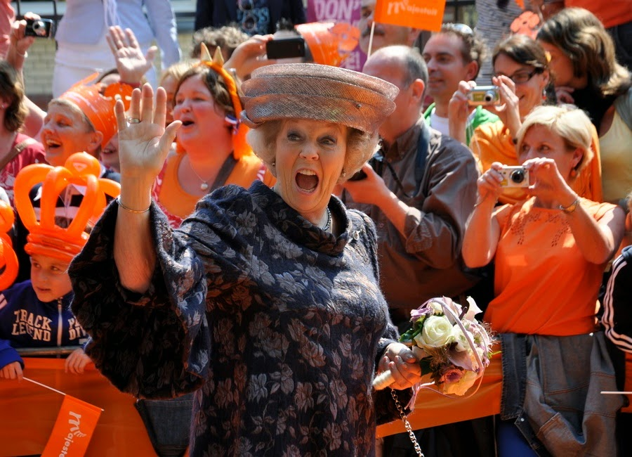 Queen Beatrix celebrating Queen's day. Lots of orange about!
