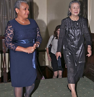 Margaret Kenyatta with Mrs Ban Soo Taek, wife of Ban Ki-Moon