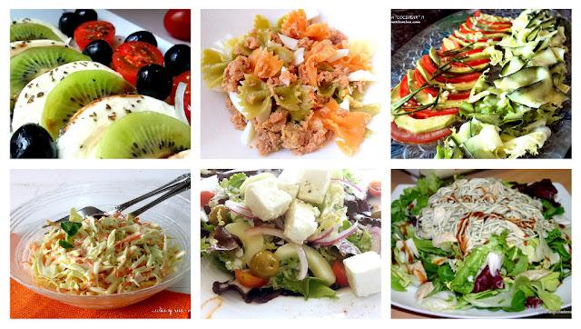 Ensaladas variadas: coleslaw, gulas-pollo, pasta, griega, mozzarella-kiwi, aguacate-pepino