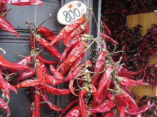 Strings of peppers for sale