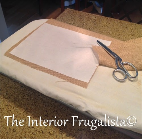 Cutting freezer paper bonded to burlap