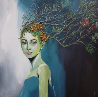 art, kunst, gallery, galleri, contemporary, moderne, moderns, colourful, farverig, havtorn, sommerfugl, butterfly, painting, maleri, girl, new painting, new, healty, vegetarian, vegan, go vegan, buckthorn