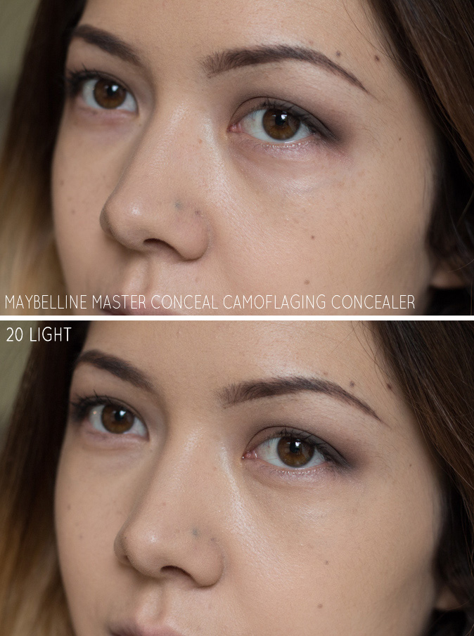 maybelline master conceal camoflaging concealer 20 light review swatches