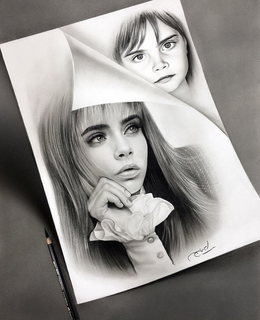 01-Cara-Delevingne-Aymanarts-Realistic-3D-Illusion-Portrait-Drawings-www-designstack-co