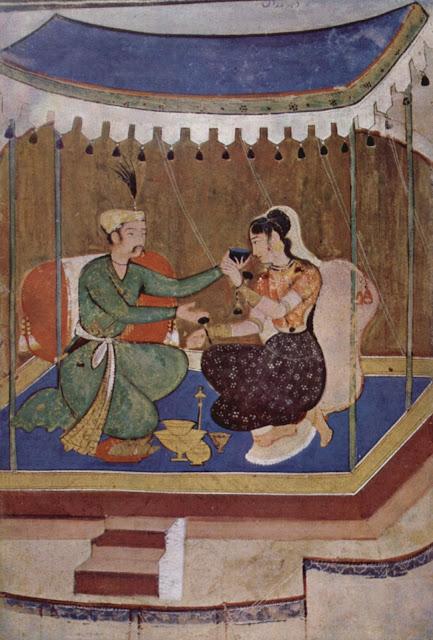 Manuscrito Rasikapriyâ - Un príncipe ofrece una copa de vino a una dama - c. 1615-20