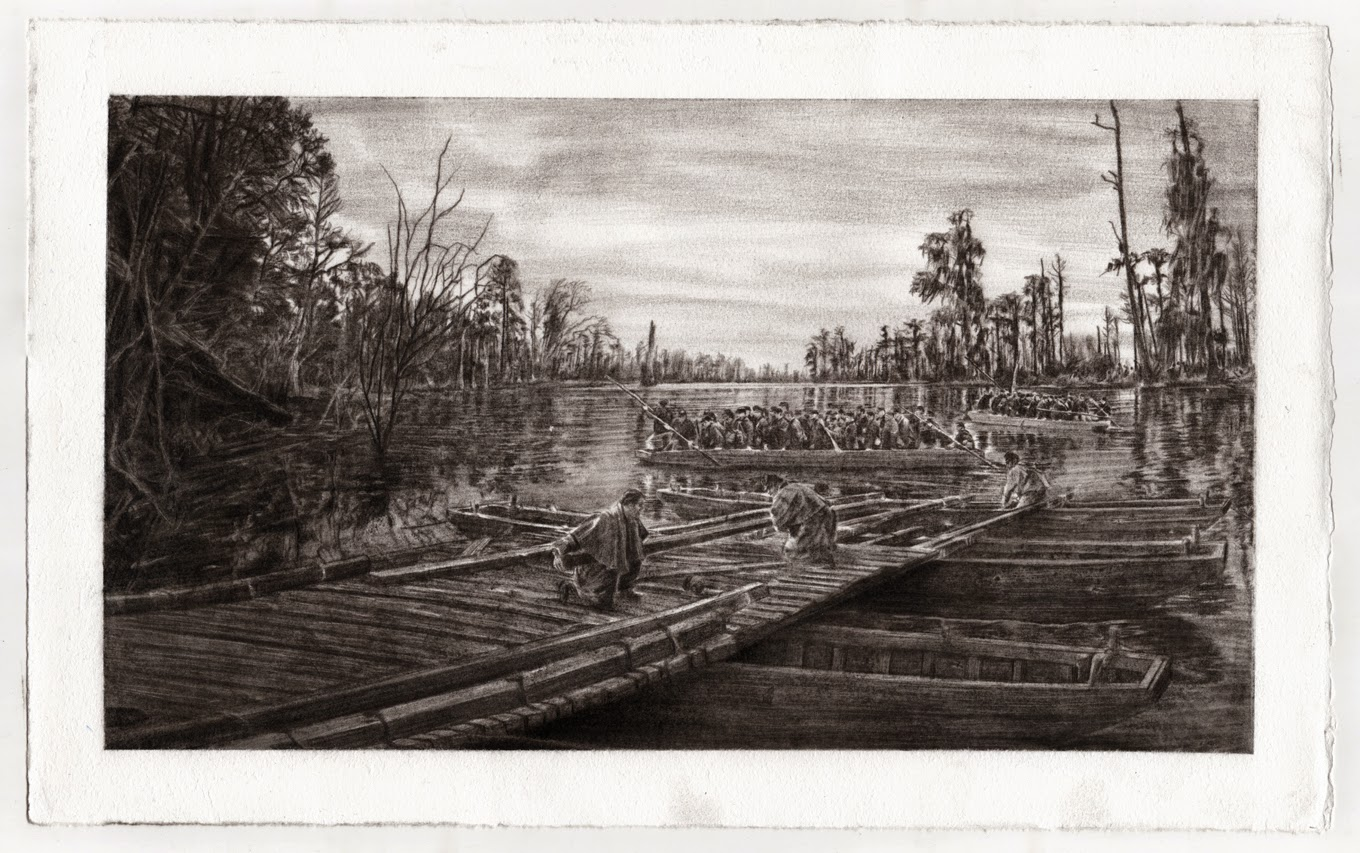 Dismantling the Pontoon Bridge at Ebenezer Creek