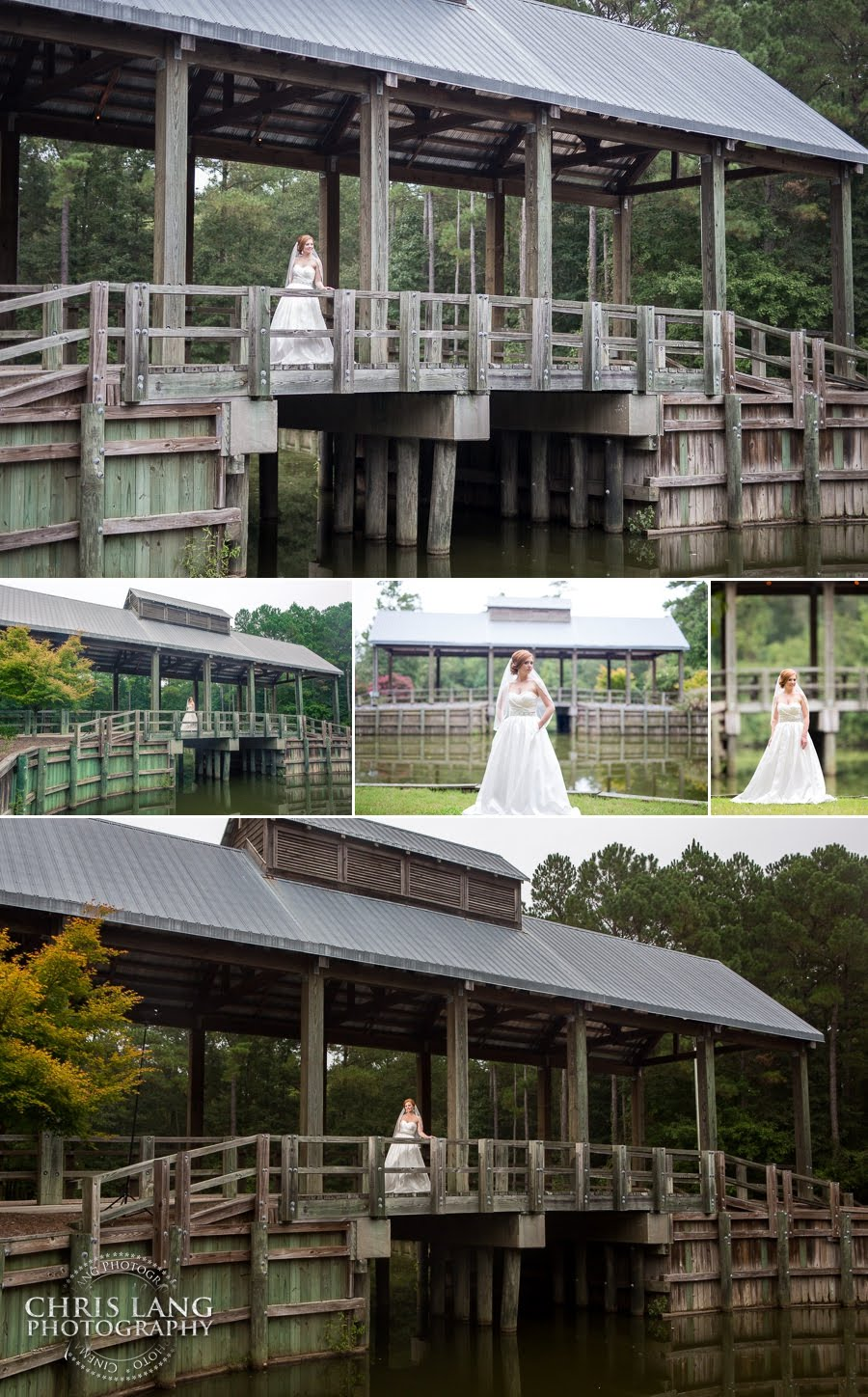 Image of bride on the covered bridge at River Landing | Wallace NC | River Landing Wedding Photography